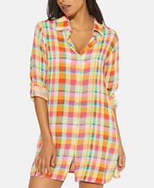 Bleu by Rod Beattie Plaid Shirt Cover Up
