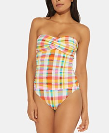 Bleu by Rod Beattie Plaid Shirred Strapless One-Piece Swimsuit