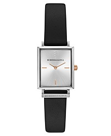 Ladies Rectangle Black Genuine Leather Strap Watch, 22mm x 23mm