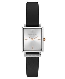BCBGMAXAZRIA Ladies Rectangle Black Genuine Leather Strap Watch, 22mm x 23mm