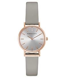 BCBGMAXAZRIA Ladies Round Gray Genuine Leather Strap Watch, 30mm