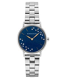 Ladies Blue Dial Round Stainless Steel Bracelet Watch, 32mm