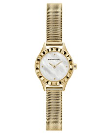Ladies Round Goldtone Stainless Steel Mesh Strap Watch, 24mm