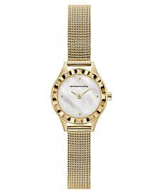 BCBGMAXAZRIA Ladies Round Goldtone Stainless Steel Mesh Strap Watch, 24mm