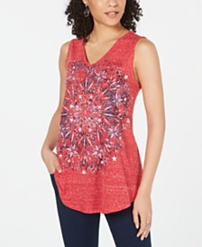 Style & Co Petite Firework Graphic-Print Tank Top, Created for Macy's