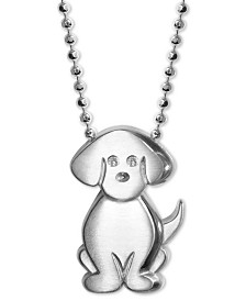 "Alex Woo Diamond Accent Dog 16"" Pendant Necklace in Sterling Silver"