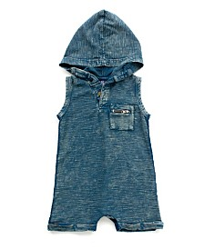 Baby Boy Mineral Wash Hooded Romper