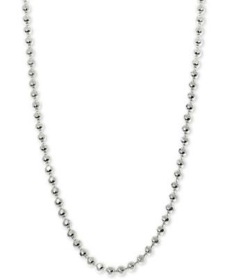 """Beaded 18"""" Chain Necklace in 14k White Gold"""