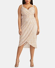 RACHEL Rachel Roy Plus Size Foil Faux-Wrap Dress