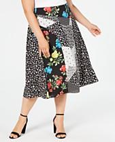 e7978a542d Calvin Klein Plus Size Mixed-Print Midi Skirt