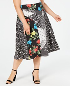 Calvin Klein Plus Size Mixed-Print Midi Skirt