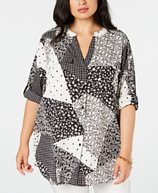 Calvin Klein Plus Size Patchwork-Print Roll-Sleeve Top
