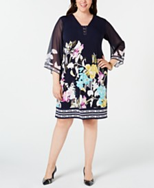 JM Collection Plus Size Chiffon-Sleeve Printed Sheath Dress, Created for Macy's