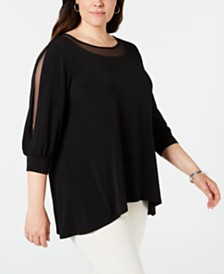 JM Collection Plus Size Mesh-Trim 3/4-Sleeve Top, Created for Macy's