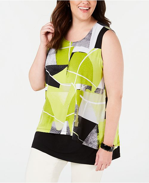 Alfani Plus Size Printed Popover Top, Created for Macy's