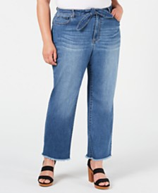 I.N.C. Plus Size Paper Bag Tie-Waist Straight-Leg Jeans, Created for Macy's