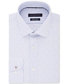 Tommy Hilfiger Men's Slim-Fit Non-Iron THFlex Supima® Stretch Floral Print Dress Shirt