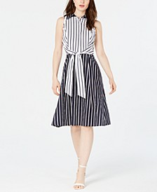 Tie-Front Striped Dress