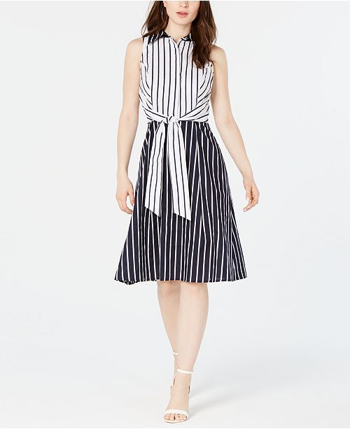 Royalty Clothing Brand Tie-Front Striped Dress