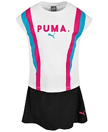 Puma Little Girls 2-Pc. Colorblocked French Terry Top & Skort Set