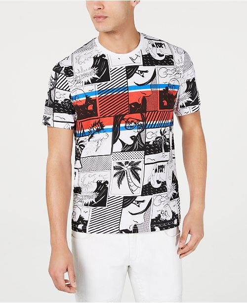 INC International Concepts I.N.C. Men's Heartache Comic Stripe T-Shirt, Created for Macy's