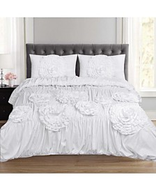 Scarlett Ruched Fancy Floral Queen 3-Pc Duvet Set