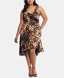 XSCAPE Plus Size Animal-Print Ruffled A-Line Dress