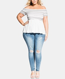 City Chic Trendy Plus Size Smocked Off-The-Shoulder Top