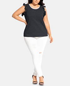 City Chic Trendy Plus Size Refined-Stripe Top