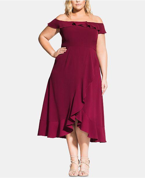Robe Chic Trendy City haute taille Merlot a a et pour femmes epaules maxi denudees W29DIEH
