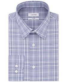 Calvin Klein Men's STEEL Slim Fit Non-Iron Performance Stretch Blue Check Dress Shirt