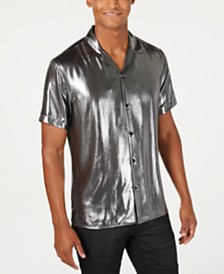I.N.C. Men's Astro Metallic Camp Shirt, Created for Macy's
