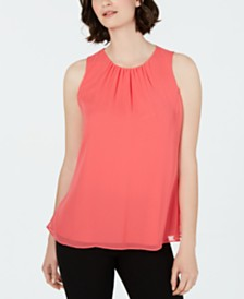 Calvin Klein Pleated-Neck Sleeveless Top