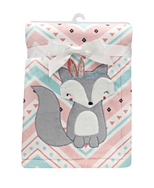 Little Spirit Chevron Fox Luxury Baby Blanket