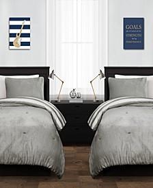Plush Stripe 2Pc Twin XL Comforter Set