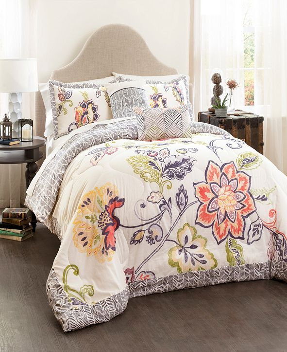 Lush Decor Aster Quilted 5-Pc. Full/Queen Comforter Set