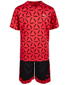 Puma Big Boys Performance Pieced T-Shirt & Shorts Separates