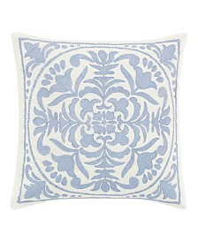 Laura Ashley Mila Blue Embroidered Medallion Throw Pillow