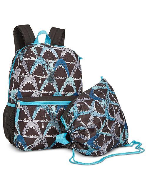 Boys 2 Pc Shark Print Backpack Drawstring Bag Set