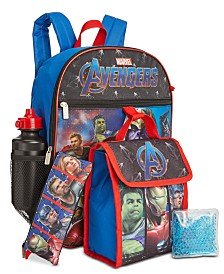 Bioworld Little & Big Boys 5-Pc. Avengers Backpack & Lunch Kit Set