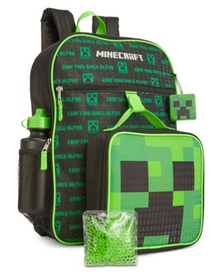 Kids Childrens Official Minecraft 4 piece Backpack School set