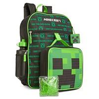 Bioworld Little & Big Boys 5 Piece Minecraft Backpack & Lunch Kit Set