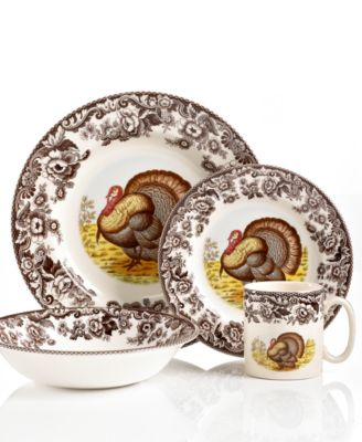 Bring the classic style of the English countryside to your table with Woodland dinnerware. The majestic turkey is illustrated in great detail and framed by ...  sc 1 st  Macyu0027s & Spode Dinnerware Woodland Turkey Collection - Dinnerware - Dining ...