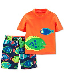 Carter's Baby Boys 2-Pc. Graphic-Print Rash Guard & Swim Trunks Set