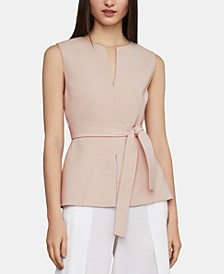 Tie-Waist Split-Neck Top