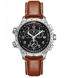 Men's Swiss Quartz Khaki Aviation Khaki X-Wind Brown Strap Watch 46mm