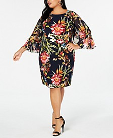 Plus Size Floral Printed Chiffon-Sleeve Dress