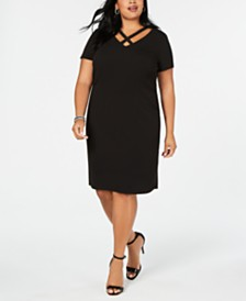 Connected Plus Size Crisscross Sheath Dress