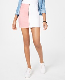 Dollhouse Juniors' Two-Tone Denim Mini Skirt