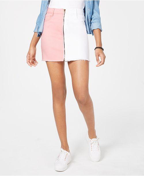 Dollhouse Juniors' Two-Tone Denim Mini Skirt